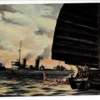 怪しいジャンクを取調べる駆逐艦 少年倶楽部付録 伊藤幾久造画