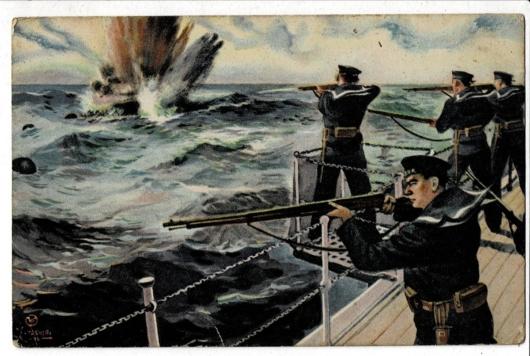 掃海艇から小銃で敵の機械水雷を爆破 少年倶楽部付録 田代光画