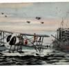 水上機母艦を離れる飛行機 少年倶楽部付録 松添健画